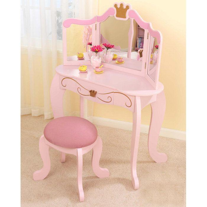 Kid Kraft Princess Vanity Table Stool With Images Bedroom