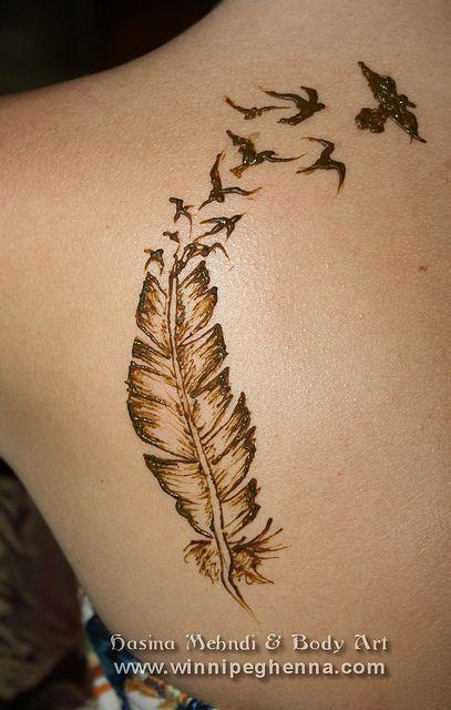 Bird Henna Tattoo: Feather Tattoo Winnipeg Henna #henna #winnipeg #feather