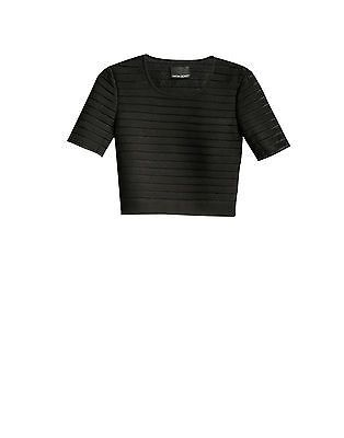 Cynthia Rowley Crepe Mesh Short Sleeve Crop Top