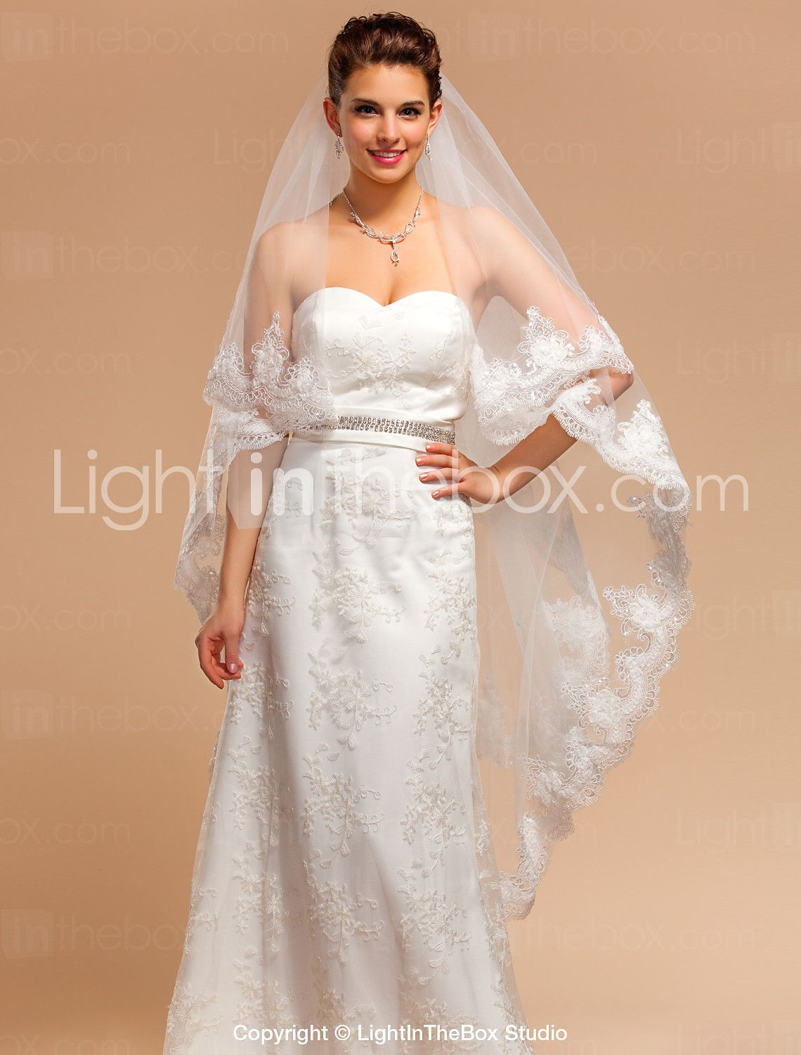 Long veil wedding dresses  Elegant Onetier Chapel Wedding Veils With Lace AppliqueFinished