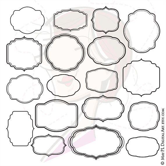Digital Scrapbook Frames Clip Art Decorative Shapes Clipart Office ...