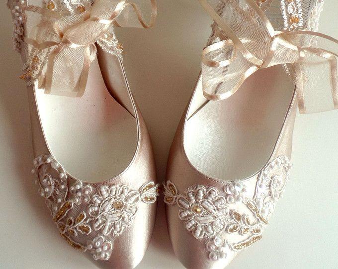 Weihnachten Hochzeitsschuhe Brautschuhe Champagner Gold Stickerei