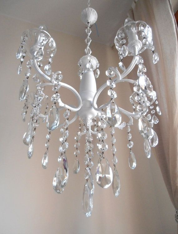 Vintage GLASS crystals white brass chandelier 5 arms, one-of-a-kind ...