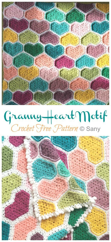 Granny Heart Motif Crochet Free Pattern - Crochet & Knitting