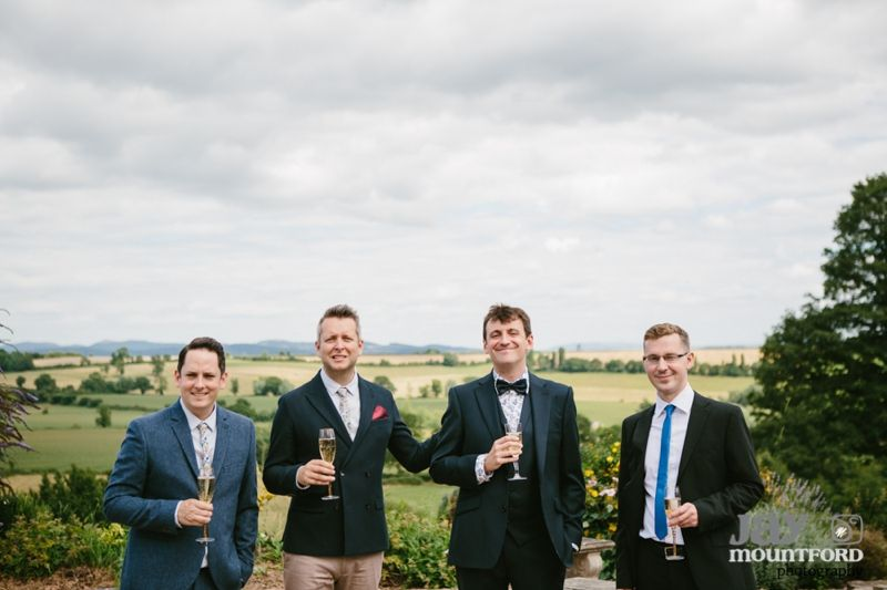 Colourful Herefordshire Wedding, Hellens Manor Barns. Best men in ties, groom in bow tie. Love it. (Jay Mountford Photography)