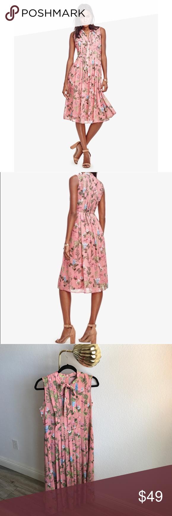 Nwot Ann Taylor Pink Pleated Fl Print Dress Soooo Pretty And Feminine With A Dresses Midi