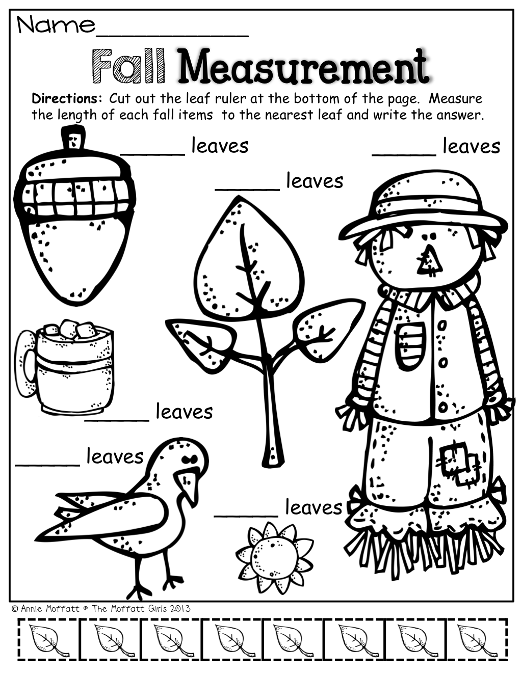 Fall Measurement Math And Literacy Packet No Prep Just Print And Teach