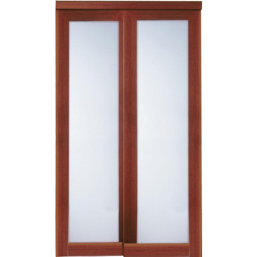 ReliaBilt 1 Lite Frosted Glass Sliding Closet Interior Door (Common: 72 In