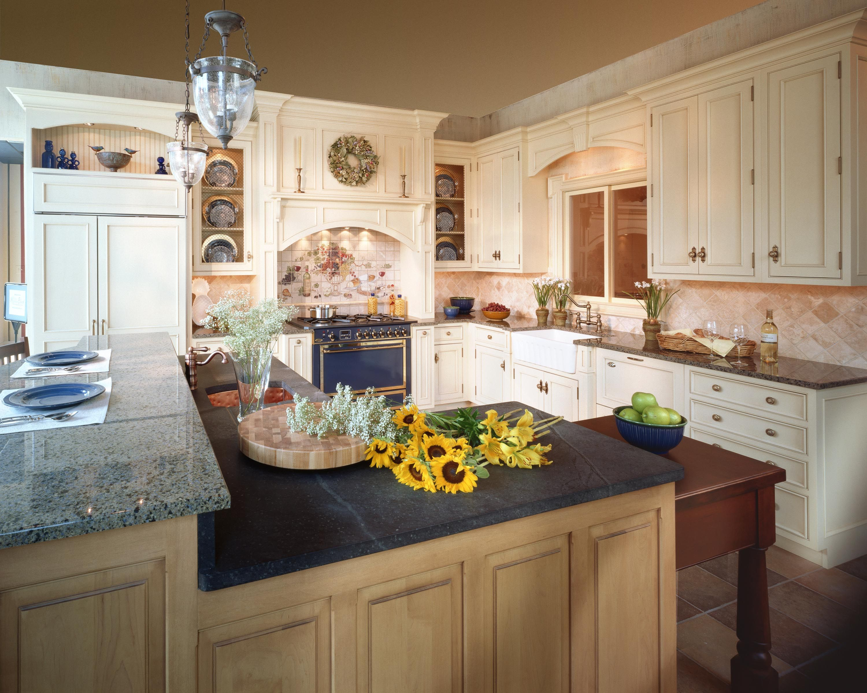 a vintage blue oven is the focal point of this kitchen! http://www