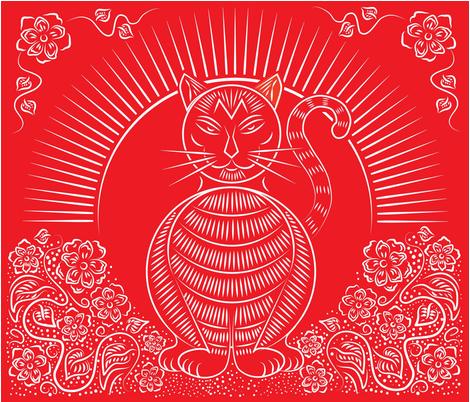 ❤ =^..^= ❤  Chinese_Rusty_ fabric by gcatmash on Spoonflower - custom fabric