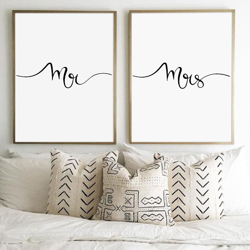 Mr and mrs print wall art canvas painting gifts for newlyweds
