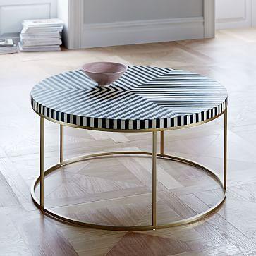 Striped Bone Inlay Coffee Table Coffee Table Coffee Table White