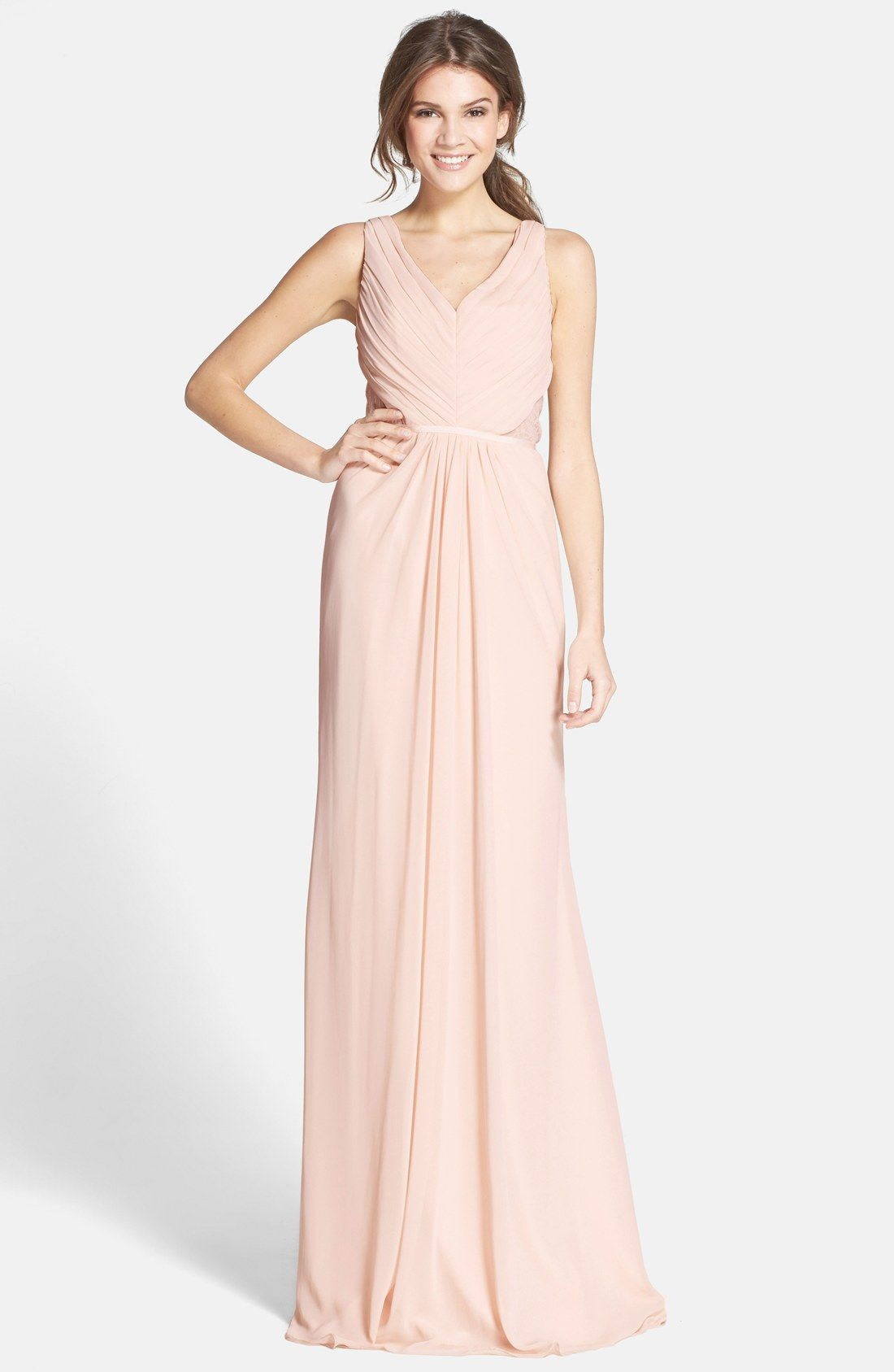 Monique Lhuillier Bridesmaids Lace Back Chiffon Gown | anne + ...