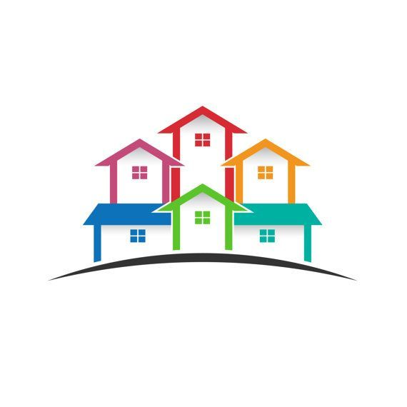 House For Rent Clip Art: Real Estate Logo, Colored Houses Clip Art. Concept For A