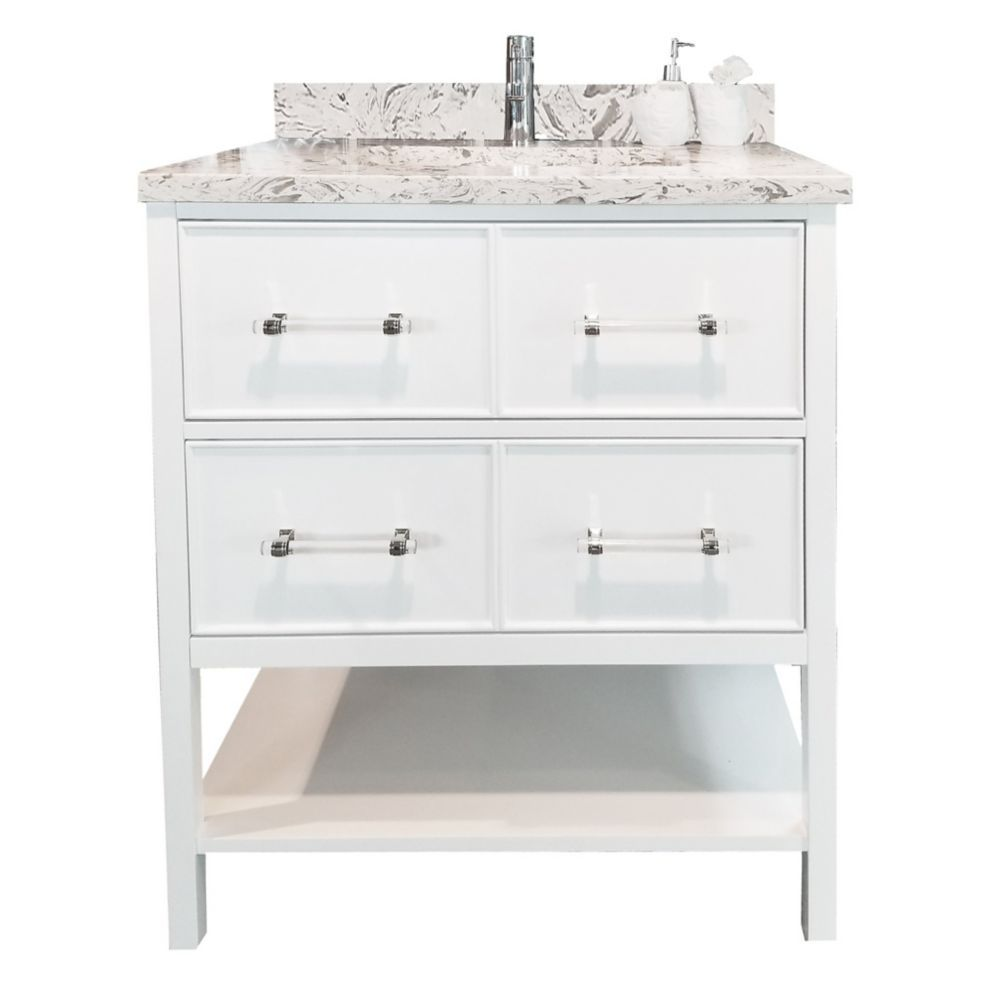 Bold Gemma 24 Inch White Vanity With Quartz Top In Milky Way White Vanity 24 Inch Vanity 30 Inch Vanity