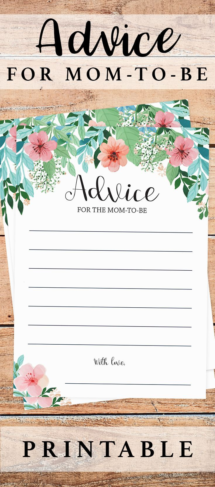 Advice For New Mom Baby Shower Printable Showers