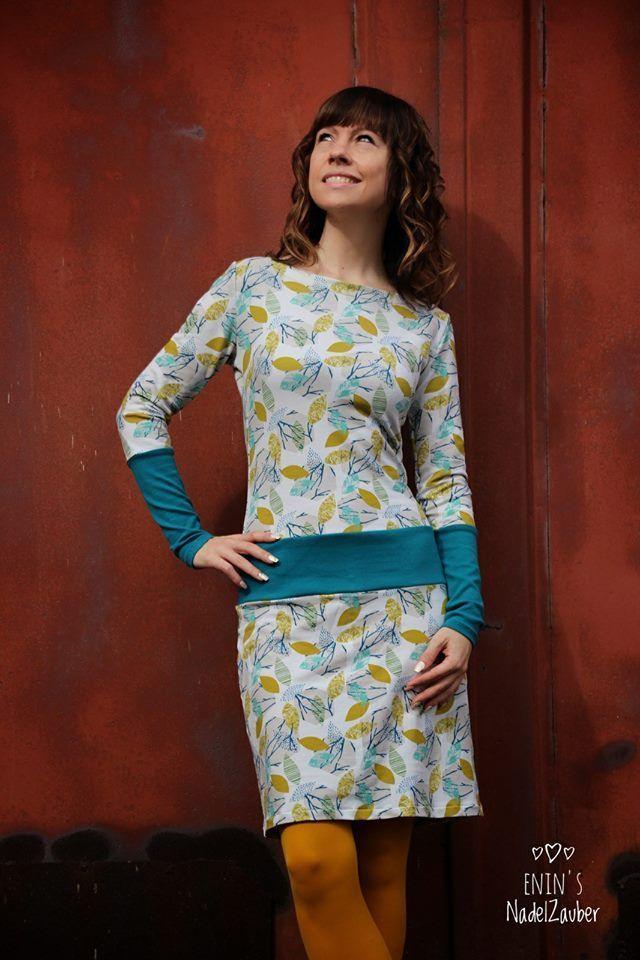 Photo of herbstliches Jerseykleid mit Passe und Türkisen Bündchen, ADELE the dress Schn…