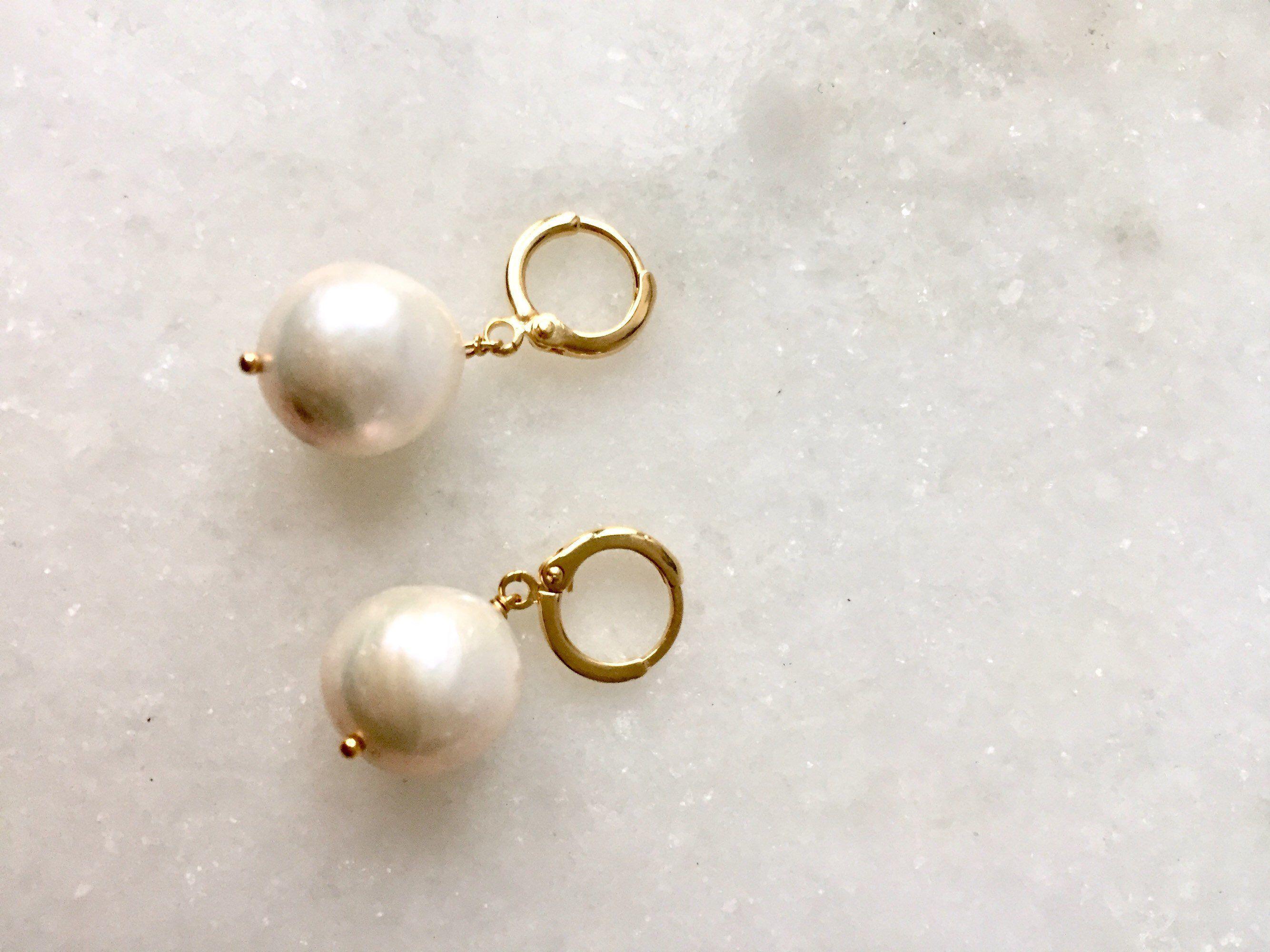 dabdcd75272c7 Pearl hoop earring, baroque pearl earring charm hoop earring gold ...