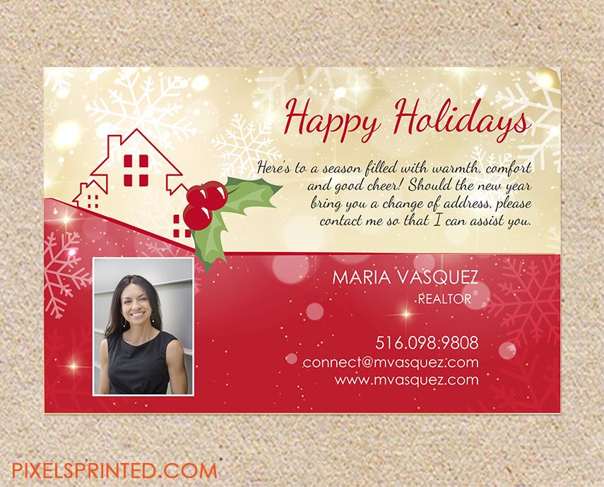 realtor holiday postcards, realtor Christmas postcards