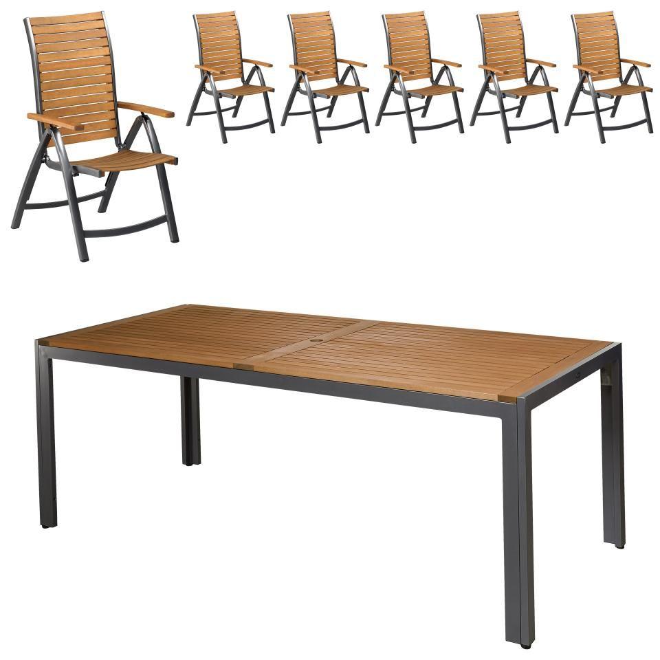 3e563a5f4d Gartenmöbel-Set Dallas/Boston (93x206, 6 Stühle) - Dänisches Bettenlager