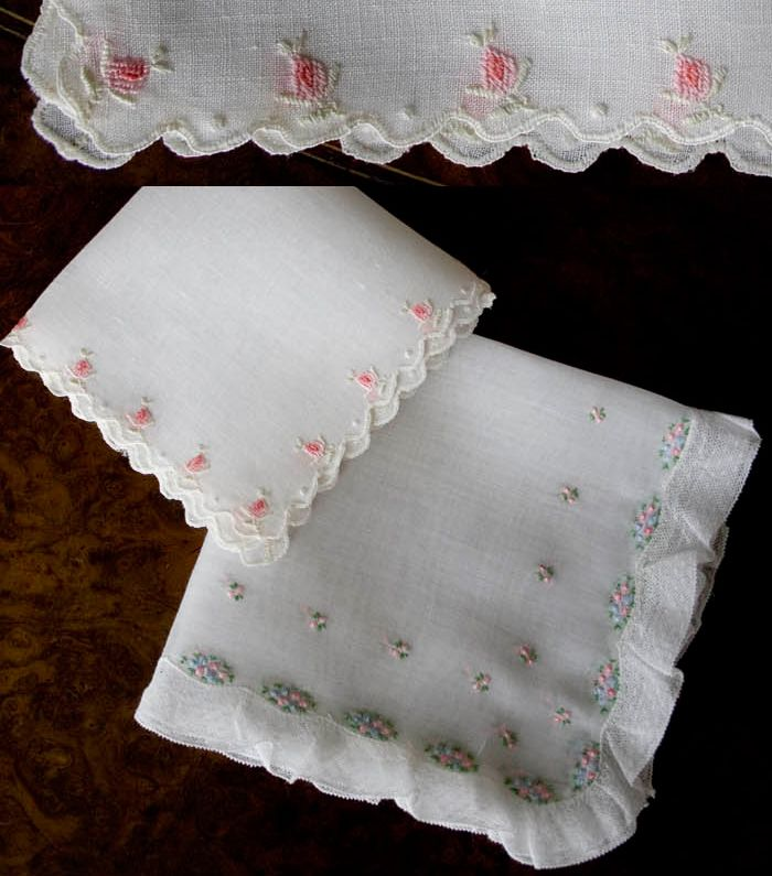 Vintage Embroidered Hankies / Embroidered White Hankerchiefs / Landies  Hankies