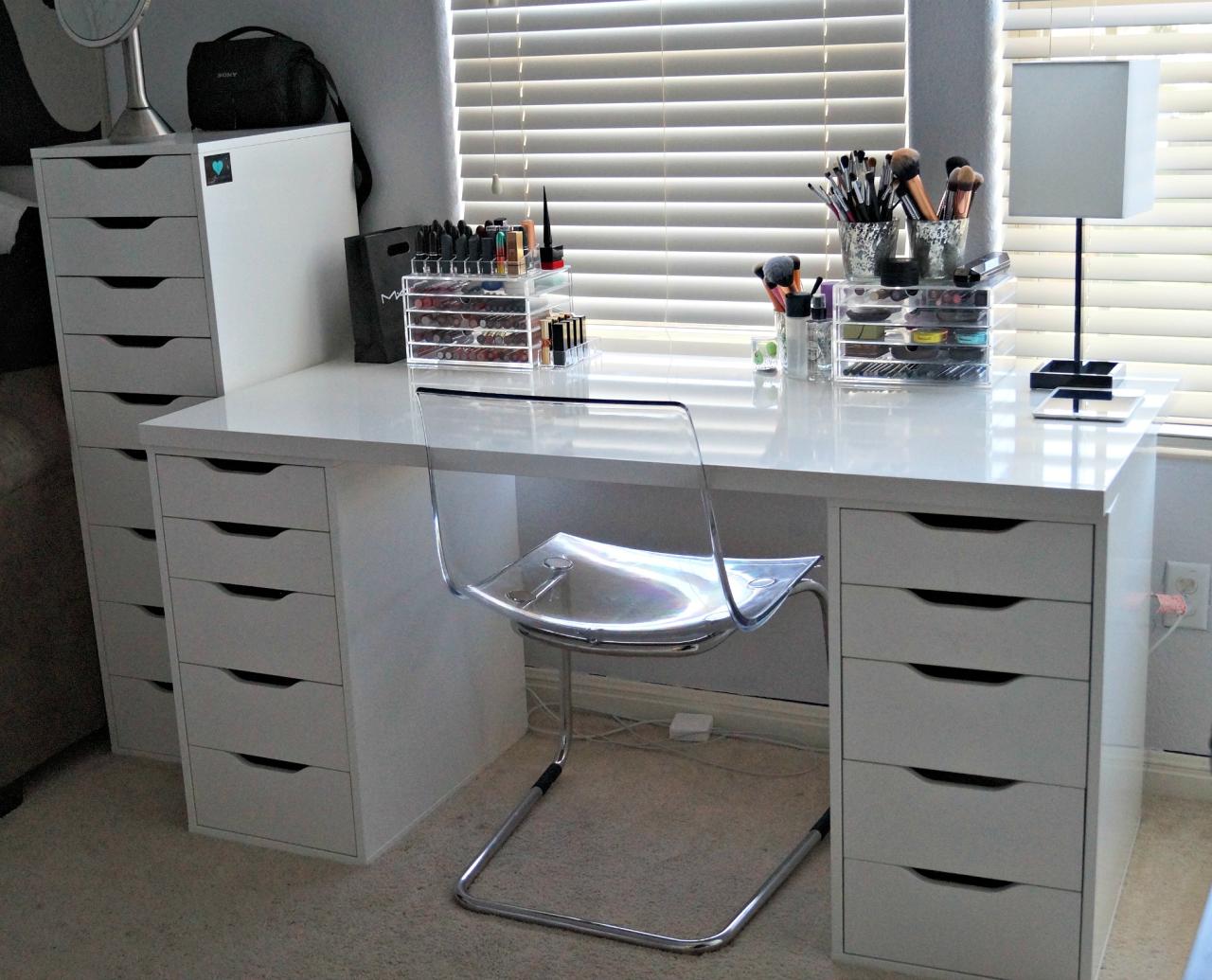 makeup is infinite Desk with drawers, Vanity desk
