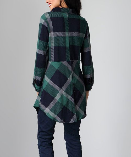 Look at this Green Plaid Split Button-Back Tunic on #zulily today!
