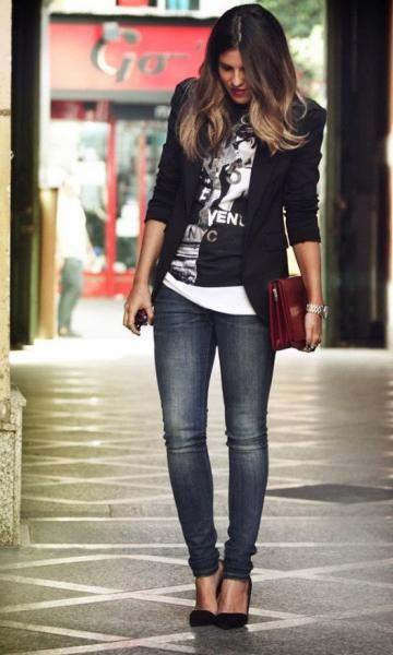 7f1e29cb9d Look Calça Jeans  Blazer