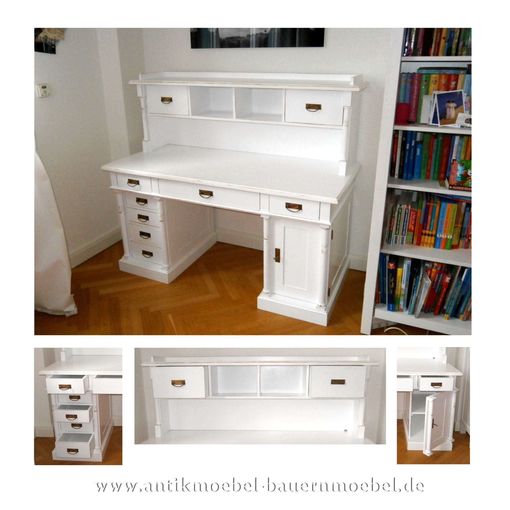 Sbt 50 Sta Schreibtisch Mit Aufsatz Landhausstil Weiss Shabby Chic