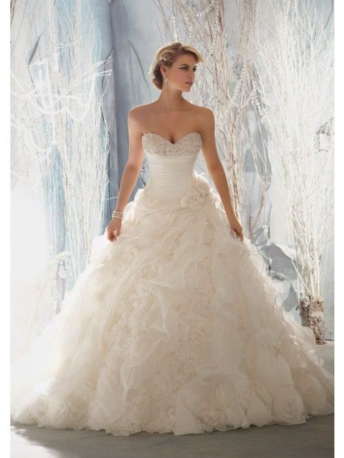A-Line/Princess Sweetheart Ruffles Organza Wedding Dress | Hayleys ...