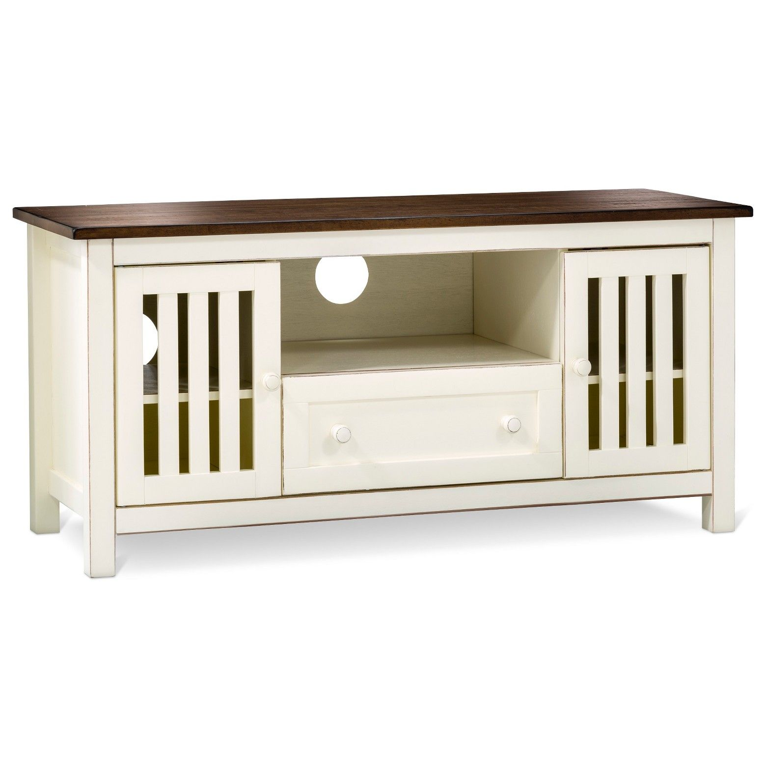 The Davern Cottage TV Stand Off White is a media storage