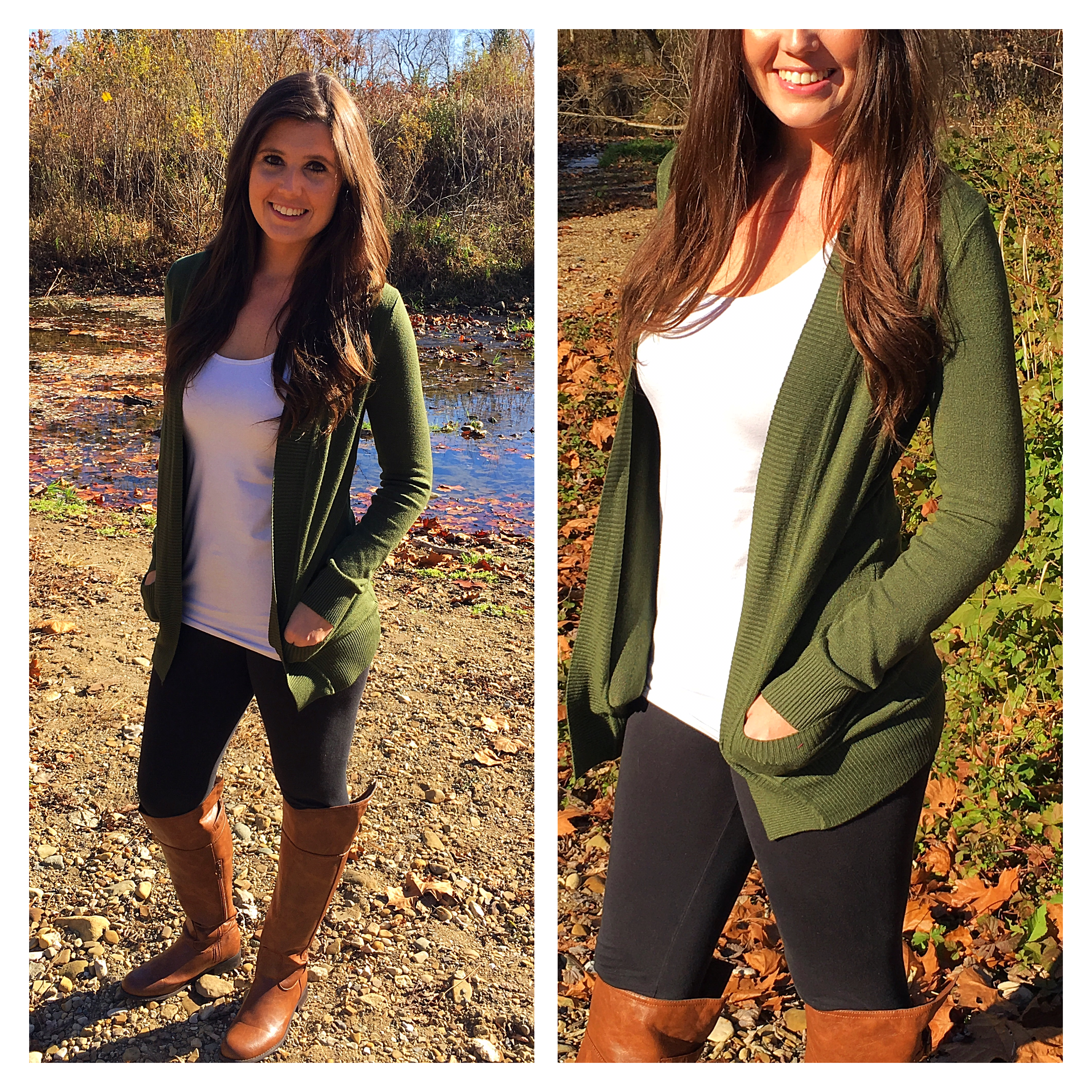 Classic green cardigan that goes with literally anything. Www.dawntoduskboutique.com