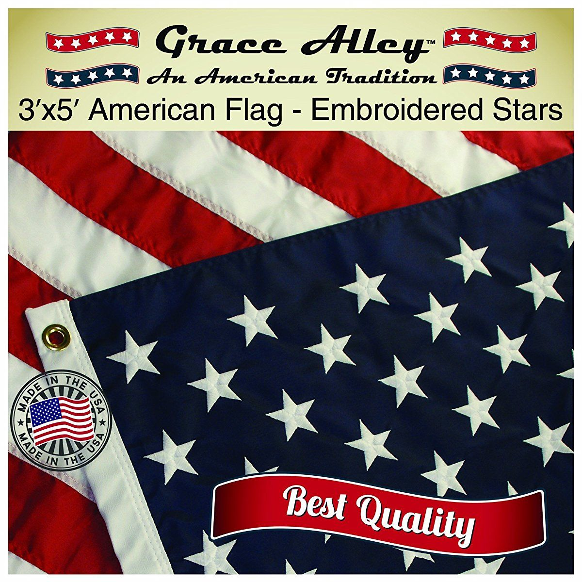 American Flag American Made By Grace Alley 3x5 Ft Us Flag Made In Usa Embroidered Stars And Sewn Stripes This American Flag Meets Us Flag Code American Flag Us