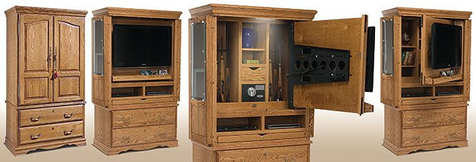 Great Above Desk, Behind Tv Storage   Tv Armoire Gun Cabinet