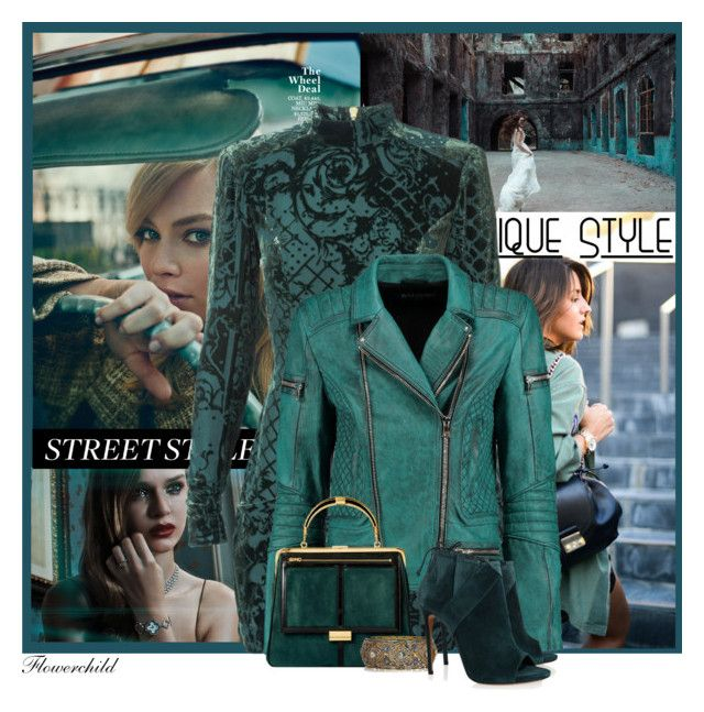 """""""Balmain  in Teal"""" by flowerchild805 ❤ liked on Polyvore featuring Balmain, Yves Saint Laurent, Artisan and Casadei"""
