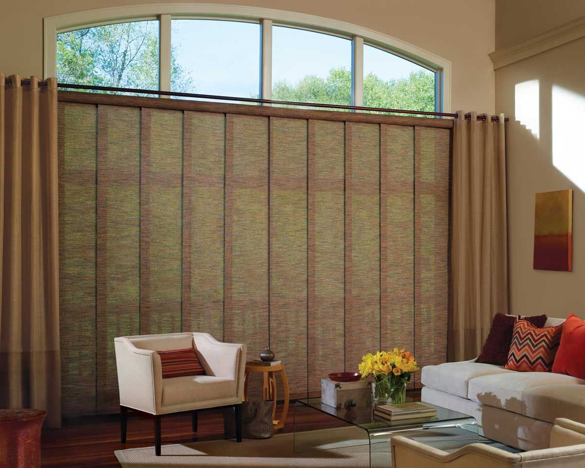 Skyline Window Panels In The Living Room With Draperies Large