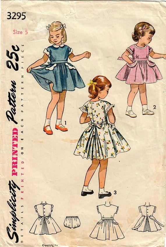 1950s Simplicity 3295 Vintage Sewing Pattern Girls Party | Sewing ...