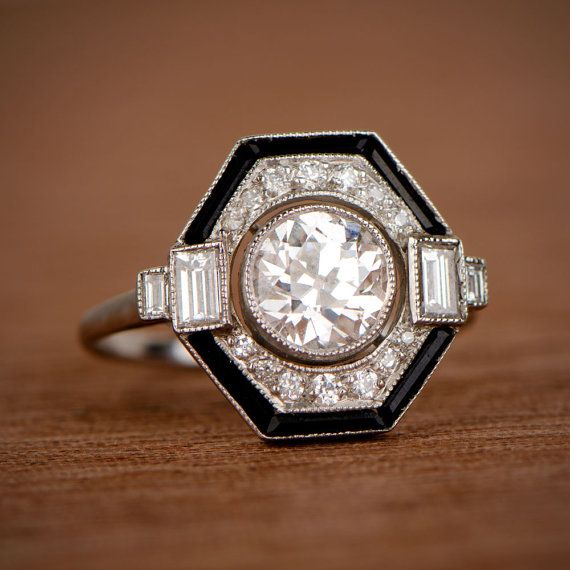 Photo of 1.05-carat Diamond Engagement Ring with Estate Old European Cut Diamond and onyx halo.