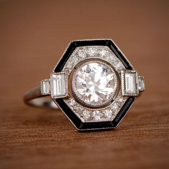 Estate Style Onyx and Diamond Engagement by EstateDiamondJewelry