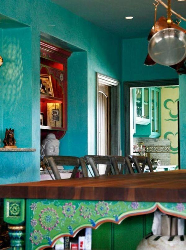 Wandfarbe pfannen küchen schiene Türkis wandgestaltung klassisch - wandgestaltung kche farbe