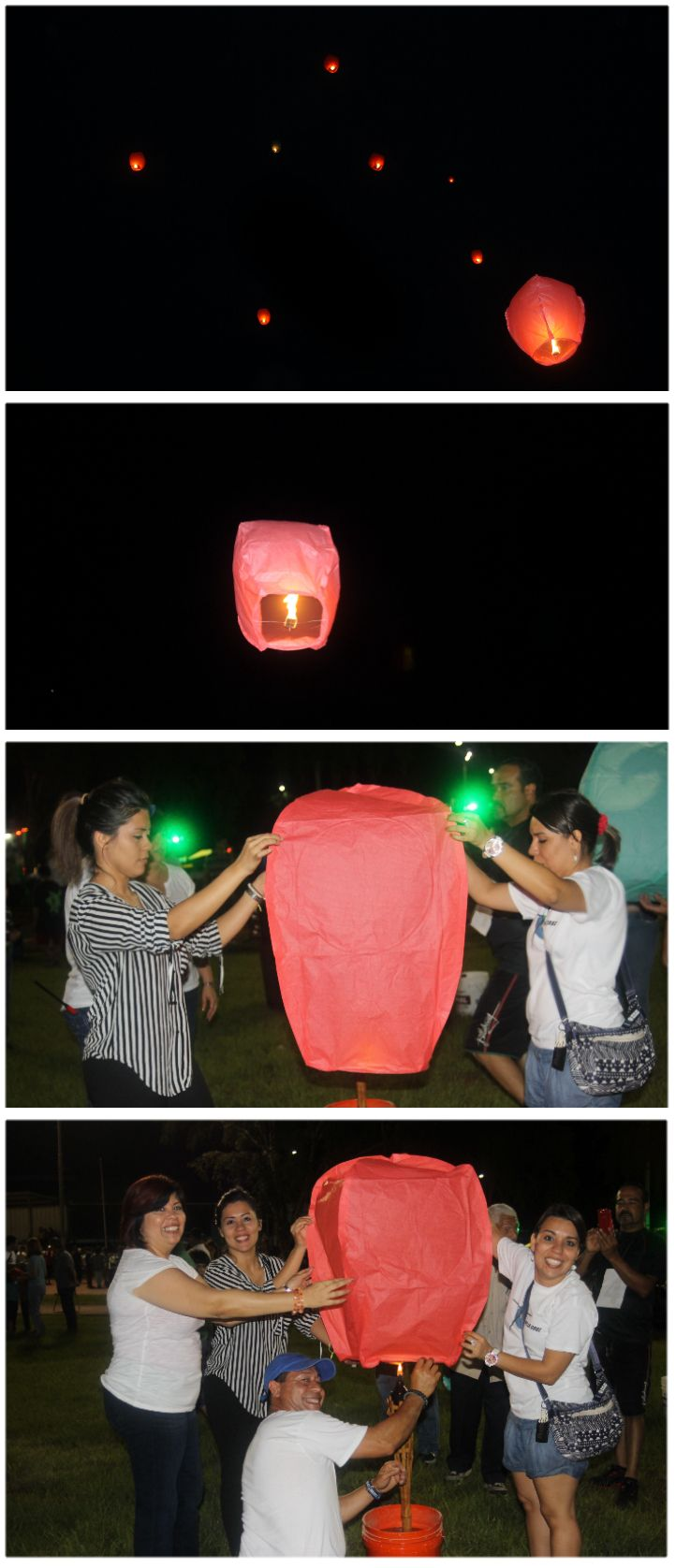 Me and my family raising a chinese lantern.