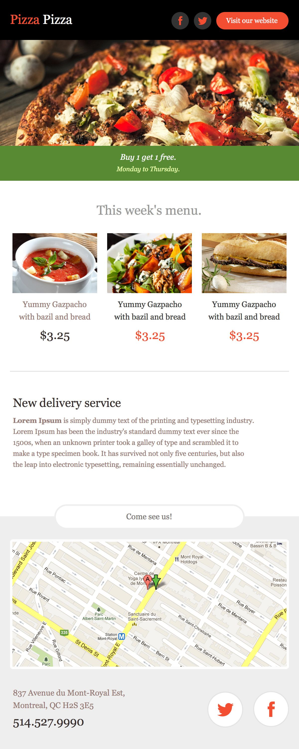 Preview Pizza Newsletter Template  Cakemail  Upper Cup