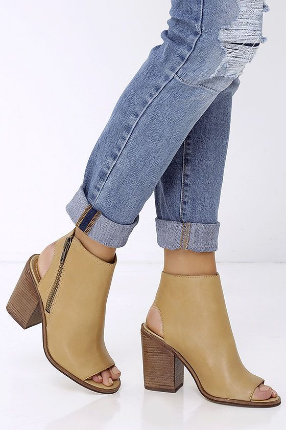 Steve Madden Terraa - Tan Leather Booties - Peep Toe Booties - $129.00