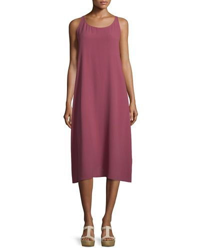 19fe3dd8ed4 TC3T9 Eileen Fisher Scoop-Neck Silk Tank Dress