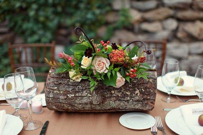 Centros de mesa con troncos para boda - Centros de Mesa - arreglos de mesa