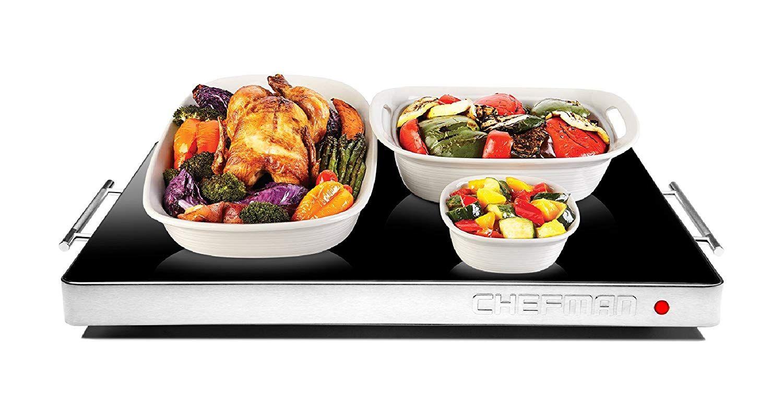 Electric warming tray keeps food warm cool kitchen