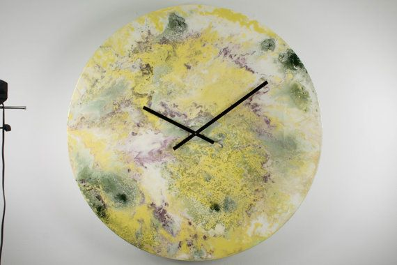 Large wall light, Giant wall clock, White, Lime green, Unique ...