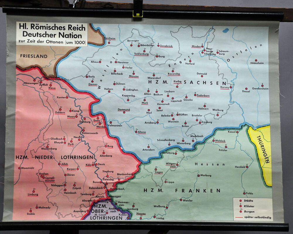 Vintage Poster Wall Chart History Map Roman Empire German Nation