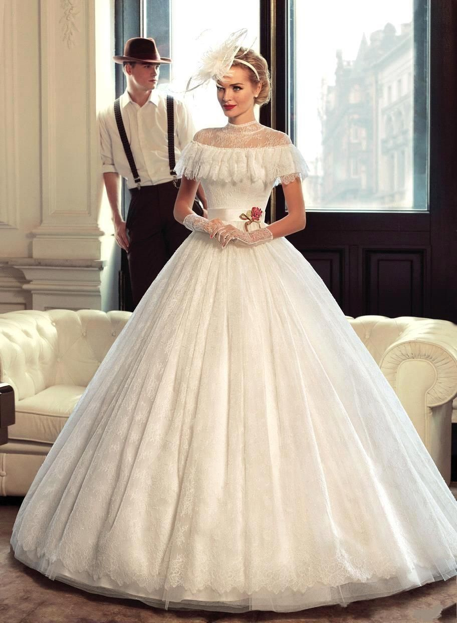 Vintage High Collar Ball Gown Wedding Dress Lace Sheer Neckline Capped Sleeve Unique Stylish Plus Size Bridal Gowns Floor Length J118 Online with $170.69/Piece on Caradress's Store | DHgate.com