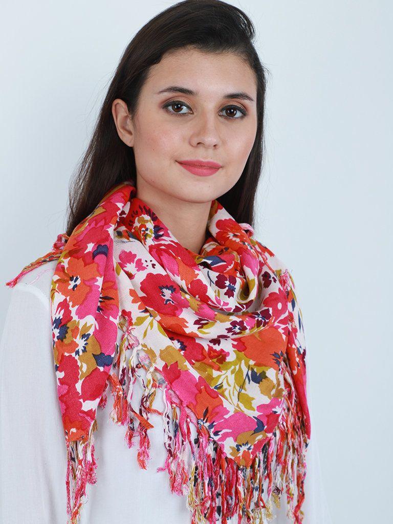 Floral Print Cowl Neck Wrap Indian Viscose Bandana